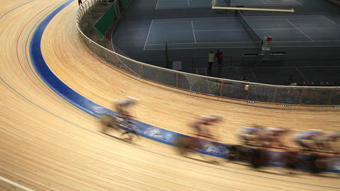 Velodrome Race Blurred Motion stock footage