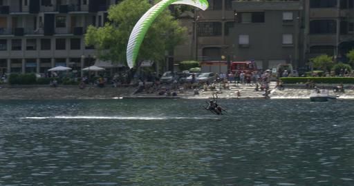 acrobatic paragliding synchro white green 34 (4K) Footage