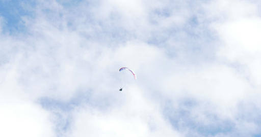acrobatic paragliding synchro white red 32 (4K) Footage