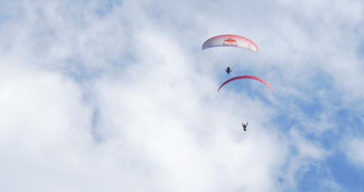 acrobatic paragliding synchro white red 34 (4K) Footage
