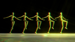 Manikins dancing Can Can stereoscopic Animation