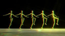 Manikins dancing Can Can stereoscopic Animación