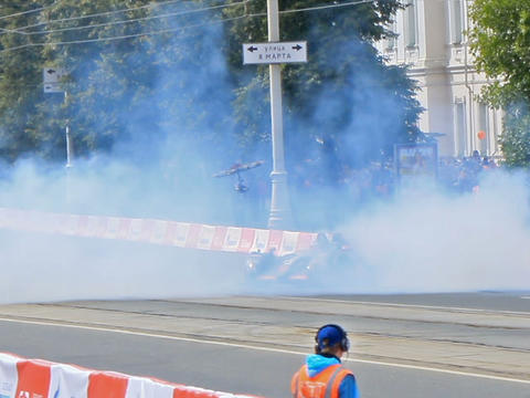 Le Mans prototype team G-Drive Racing smoke. G-Dri Footage