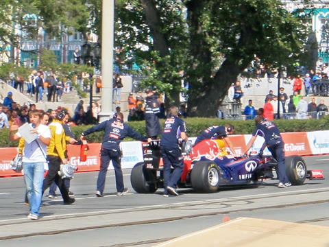 Formula 1 Cars Are Pushing Through The City. G-Dri stock footage