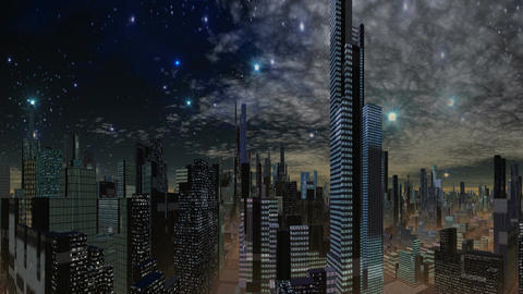 Fantastic city and UFO Animation