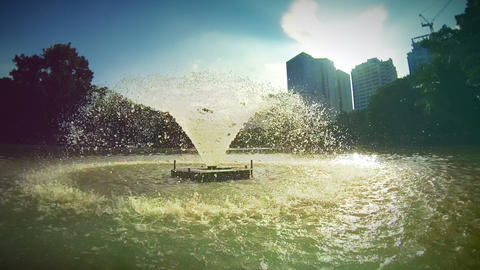 Fountain in Lumpini Park, Bangkok Footage