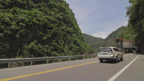 cars drive by Cimu Bridge(Motherly Devotion Bridge Footage