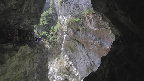 slow dolly shot of liwu river and rockcliffs view Stock Video Footage