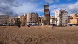 Barceloneta Beach in Barcelona Footage