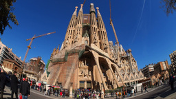 Sagrada Familia Church in Barcelona Stock Video Footage