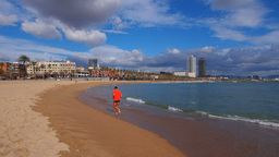 Barceloneta Beach in Barcelona Footage