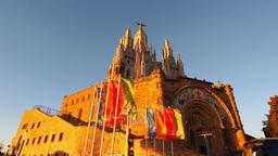 Tibidabo Temple in Barcelona Footage