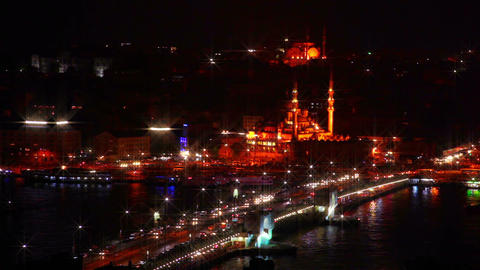 Galata Bridge and Night Traffic Footage