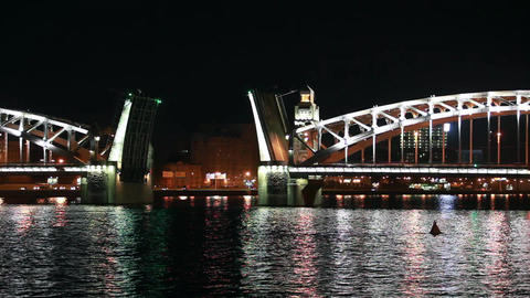 St. Petersburg at night drawbridge Footage