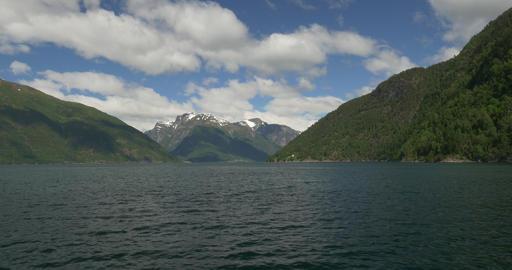 4K, Norway, Boat Trip along the coastline of a Fjo Footage