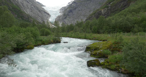 4K, Norway, Brikdalsbreen Glacier Stock Video Footage