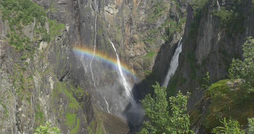 4K, Norway, Voringsfossen Waterfall and Rainbow Stock Video Footage