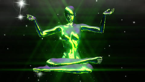 Animation Of A Meditating Woman stock footage