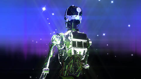 Animation of a Robot with Stars Animation