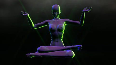 Animation of a meditating Woman Stock Video Footage