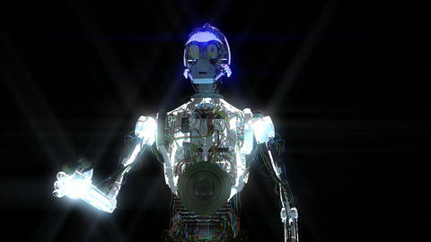 Animation Of A Robot With Stars stock footage