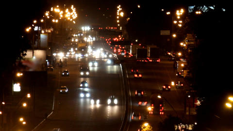 heavy traffic on the freeway at night Stock Video Footage