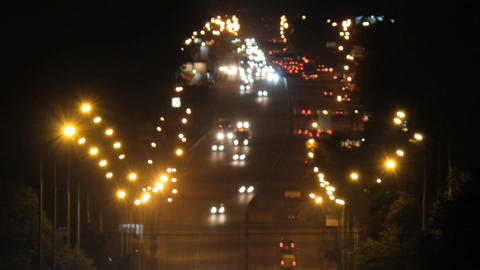 heavy traffic on the freeway at night Footage
