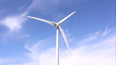 Wind Power With Blue Sky Background stock footage