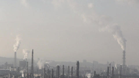 Industrial plant chimney emission noxious smog and Footage