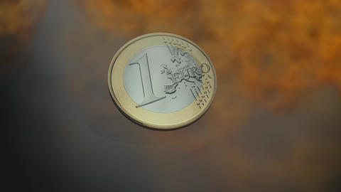 Animation Of An Euro Coin stock footage