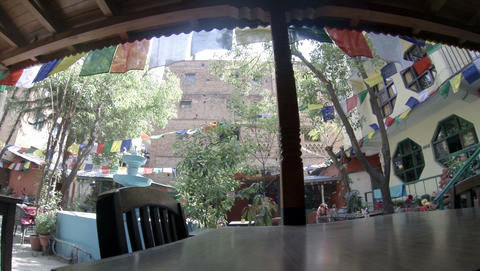 2.7K. Hotel open air cafe. Kathmandu. Nepal, Full Stock Video Footage