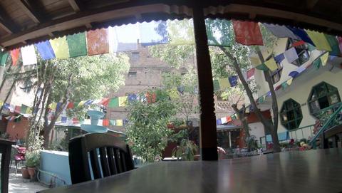 2.7K. Hotel open air cafe. Kathmandu. Nepal, Full  Footage