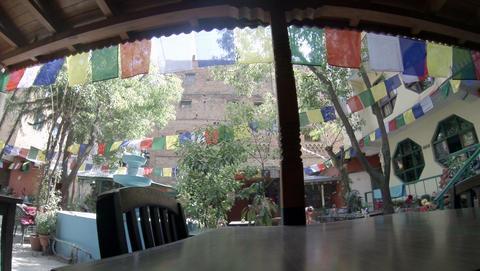2.7K. Hotel open air cafe. Kathmandu. Nepal, Full Stock Video Footage