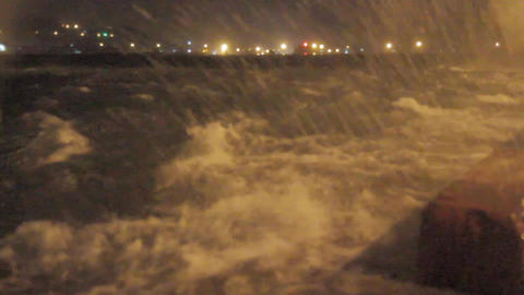 Harbor during a typhoon with strong wind and rain ビデオ