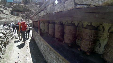 2.7K. HIMALAYAS, NEPAL - MARCH, 2014: Tourists spi Footage