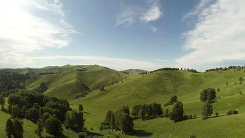 Aerial Stock Footage Flight Above Green Hills Footage