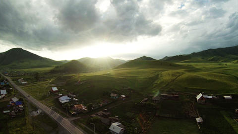 Aerial Stock Footage Flight From Dawn Over Mountai Stock Video Footage