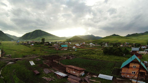 Aerial Stock Footage Flying Above Mountain Village Footage
