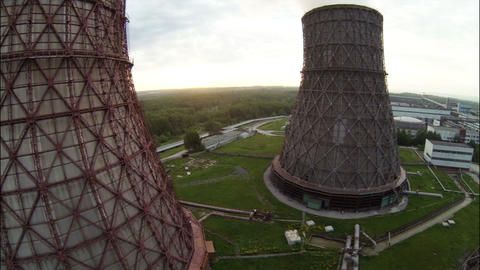 Aerial Footage Fisheye Nuclear Cooling Towers Agai ビデオ