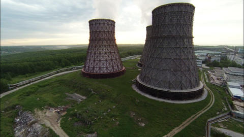 Aerial Stock Footage Cooling Towers of Nuclear Pow ビデオ