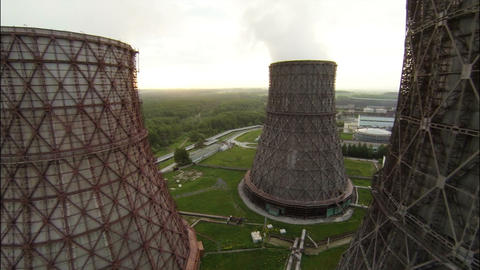 Aerial Stock Footage Flight Between Power Plant To Footage
