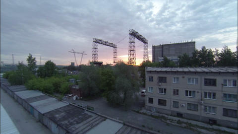 Flight Over Industrial Sight at Dawn Footage