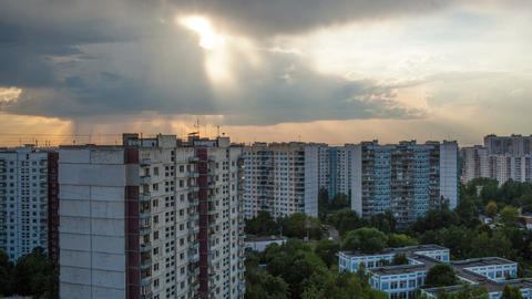 Timelapse Of Clouds Over City Houses stock footage