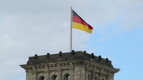 waving german flag on top of the bundestag 11425 Footage