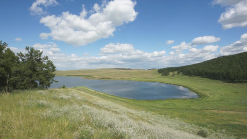 Lake Avras summer day view pan up Stock Video Footage