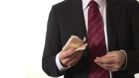 Stock Footage of a Man Counting Money Stock Video Footage
