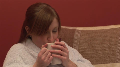 Stock Footage of a Woman Drinking Coffee Footage