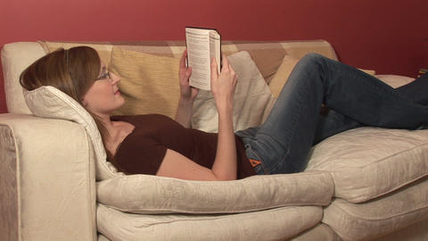 Stock Footage of a Woman Reading a Book Stock Video Footage