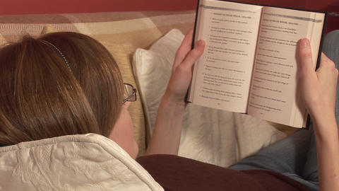 Stock Footage of a Woman Reading a Book Footage