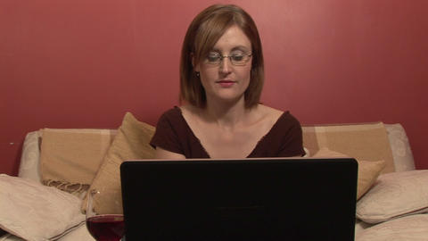 Stock Footage of a Woman Working from Home Stock Video Footage